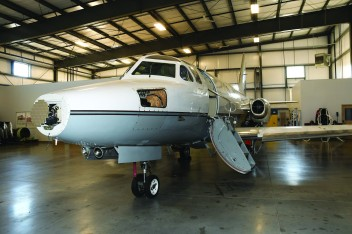 Twin engine jet located in Plymouth Hangar. Photo by Bruce McDaniel/MainSheet