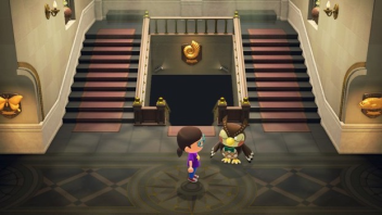 Inside of the island's museum, featuring its curator Blathers.